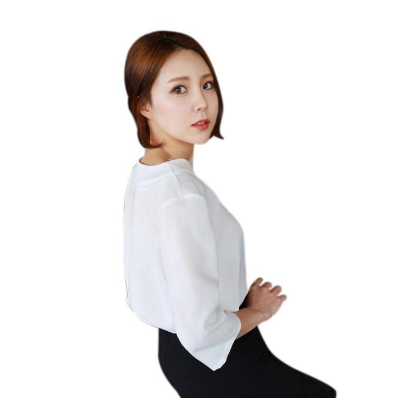 175f330d11e Для женщин модные свободные шифон v-образным вырезом Топы корректирующие  Повседневное офис рубашка блузка
