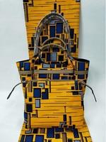(3 шт./компл.) желтый и синий африканских Анкара ткань с африканскими сумка и кошелек в африканском стиле Вечерние июля 9 2018