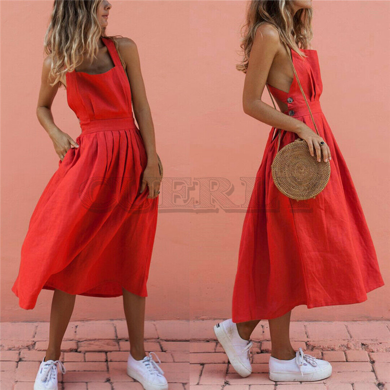 Women Summer Boho Strappy Long Maxi Dress Sexy Backless Party Red Beachwear Sundress CUERLY mujer