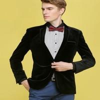 Mens Wine Red Velvet Blazer Uomo Slim Fit Moda Casual giacche Nuovo di Marca Casual Moda Abito Di Velluto Pezzi di Design Blazer 3XL