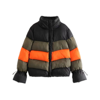 Fashion Za Multi block Patchwork Anorak Jacket Women Cotton Padded Warm Coat Lace Up Sleeve Stand Casual Outerwear Veste Femme