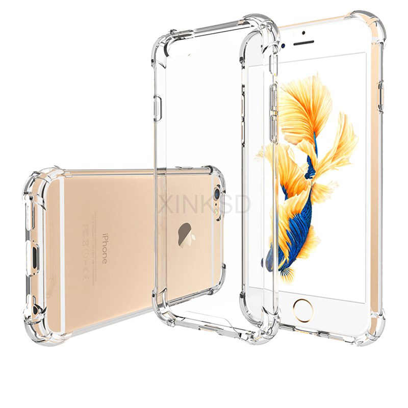 Soft TPU Case for IPhone X Anti-Knock Shockproof Full Back Cover 360 Body Protection Case For IPhone 8 Case 6s 6 7 Plus 5 5s SE