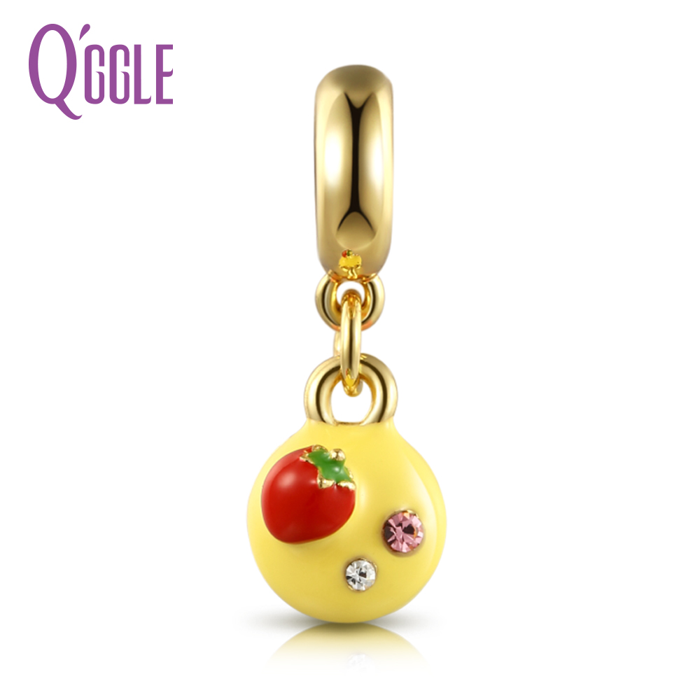 QGGLE Silver & Gold C Yellow Chocolate Strawberry Fruit Cake Pendant & Charm Fit Bangles & Bracelets For Women