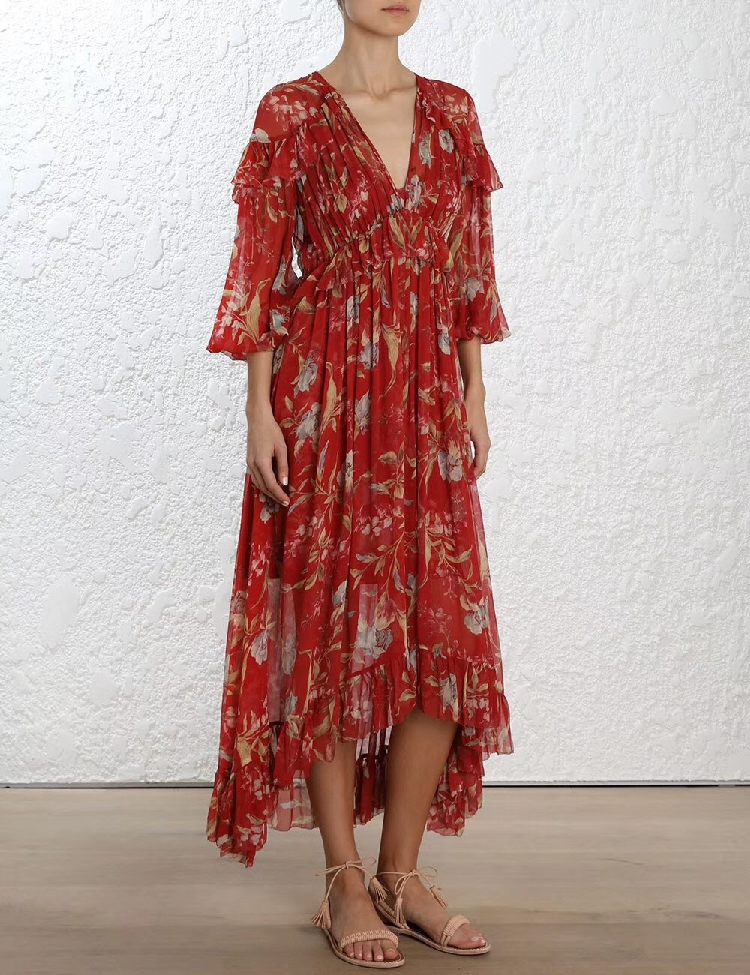100% Silk Woman Dress 18 Spring Summer Red Floral Print Ruffle Long Sleeve Deep V Neck Sexy Slim Midi Dresses For Party 2