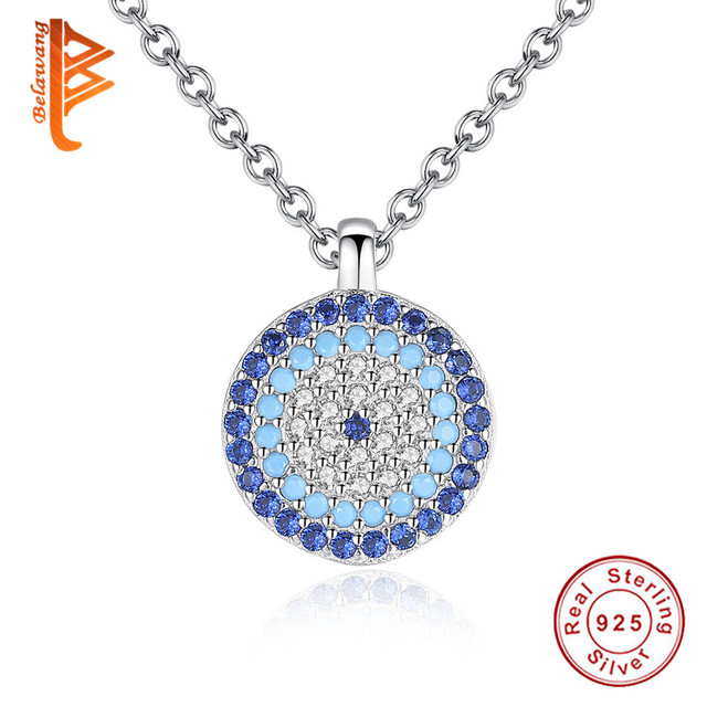 Belawang 2018 aaa austrian cz crystal blue evil eye pendant 925 sterling silver necklace for womenlover fashion jewelry gift in pendant necklaces belawang 2018 aaa austrian cz crystal blue evil eye pendant 925 sterling silver necklace for women mozeypictu Choice Image
