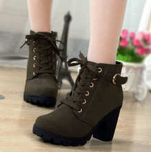 Women Martin Boots Shoes Nubuck Pointed Toe Thick High Heels Lace Up Buckle Bottom Lady Casual Female Pumps Booties