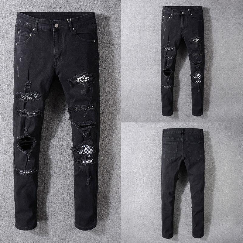 Italian Style Fashion New Men Jeans,Black Color High Quality Patchwork Casual Pants Slim Fit Streetwear Stretch Biker Jeans Men