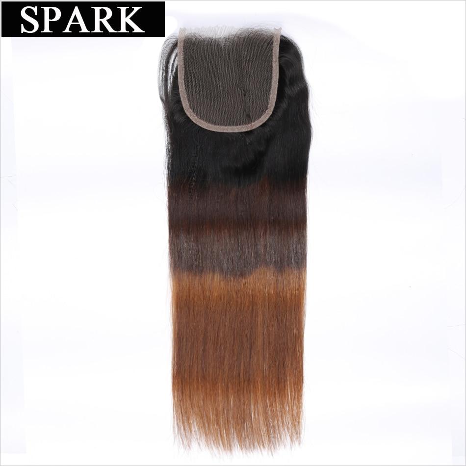 Іскра Бразильський Прямий Ombre Швейцарський Закриття мережива 1b / 4/30 Безкоштовно Частина 4''x 4 '' Remy Закриття волосся 100% Людські Волосся Безкоштовна Доставка