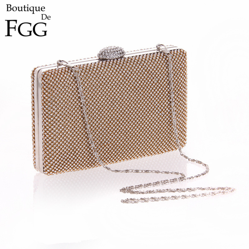 Women Luxury Crystal Diamond Metal Mini Wedding Party Handbags Purse Black Silver Gold Satin Rhinestones Evening Clutch Bags