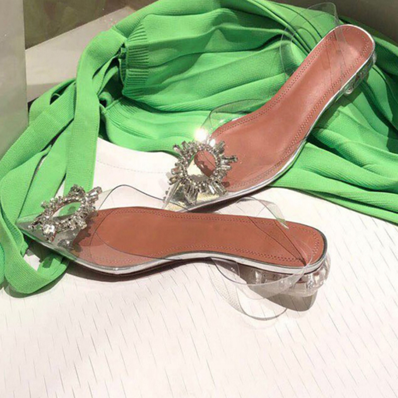 2019Summer New Ladies Fashion Pointed Transparent Buckle With Rhinestones Sexy Shallow Mouth Comfortable Thick Wild Flat Sandals2019Summer New Ladies Fashion Pointed Transparent Buckle With Rhinestones Sexy Shallow Mouth Comfortable Thick Wild Flat Sandals
