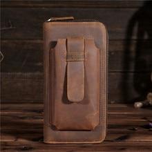YISHEN Vintage Genuine Leather Men Clutch Wallets Large Capacity Zipper Long Wallets Male Phone Bags Card Holder Purse B2079