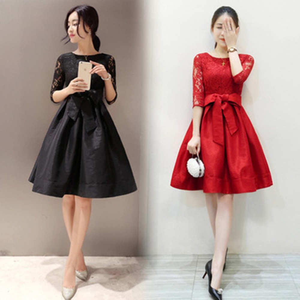 Elegant Women Lace Dress Autumn O Neck Bow Tie Crochet wedding Party Dresses Black Red Vestidos Plus Size Xmas Costumes