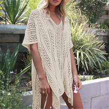 2018 New Arrivals Sexy Beach Cover up White Crochet Robe de Plage Pareos for Women Swim Wear Saida de Praia Beachwear Coverups