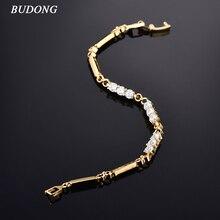 BUDONG Infinity Women Bracelets 8cm Vintage Silver/Gold Color Bracelets Girl Bracelet Luxury Zirconia Jewelry XUL018