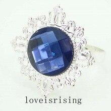 50 шт./лот Темно-синие драгоценного кольца для салфеток посеребрённые винтажные Стиль Свадебные ужин украшение, салфетка держатель