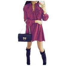 BFYL Fashion Spring Autumn Women Dresses Casual Long Sleeve V neck Ruffles Short Dress Lace Up