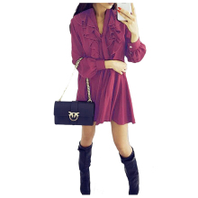 BFYL Fashion Spring Autumn Women Dresses Casual Long Sleeve V-neck Ruffles Short Dress Lace-Up Women Clothing Dresses