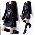 New autumn wear women's clothing han edition cultivate one's morality big code splicing Pu leather  long-sleeved dress
