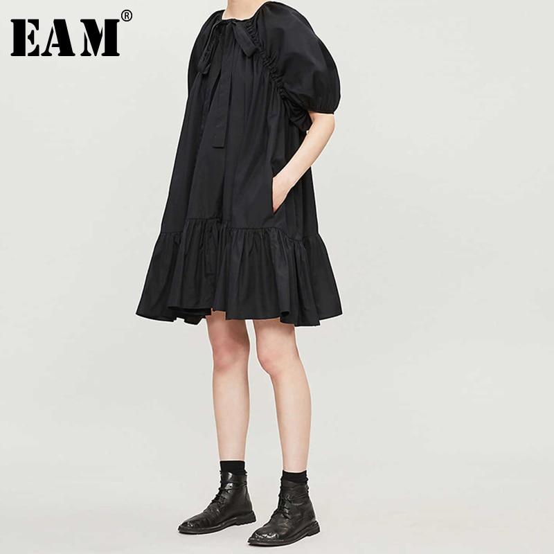 [EAM] 2020 New Spring Summer Round Neck Short Sleeve Brieef Draped Temperament Loose Big Size Dress Women Fashion Tide JX770