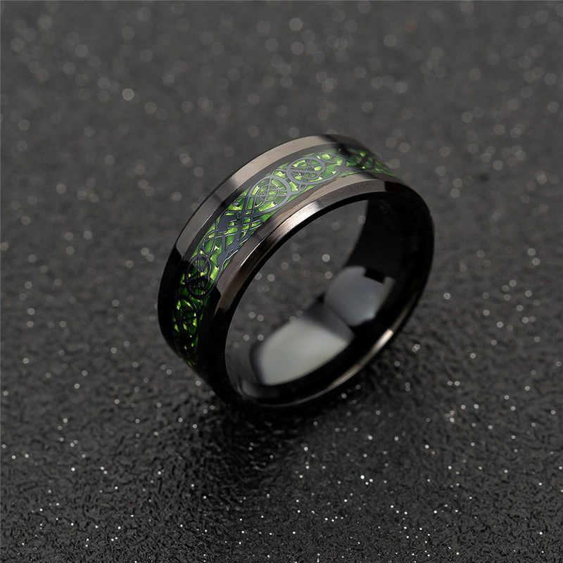 GS الفولاذ المقاوم للصدأ الرجال الدائري الأخضر الأحمر ألياف الكربون الأسود التنين الدائري للرجال النساء زوجين الزفاف الفرقة التيتانيوم خاتم r5H