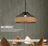 Лофт стиль железо и конопляная веревка светодиодный Droplight промышленный винтажный подвесной светильник для столовой подвесная осветительн