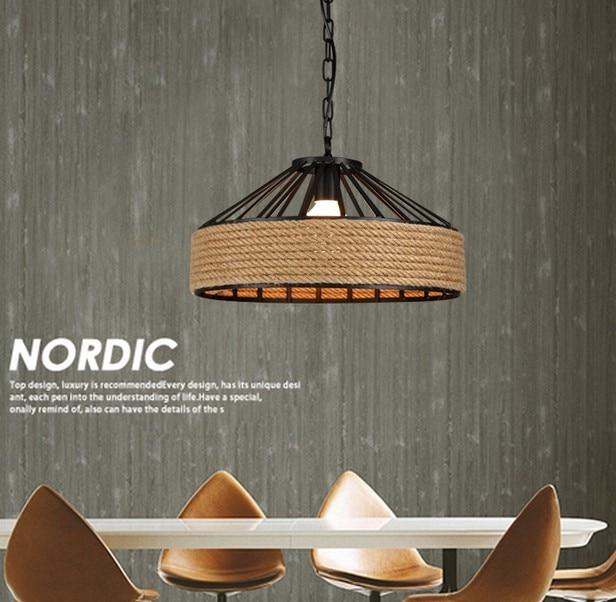 Loft Style Iron Hemp Lanové LED Droplight Industrial Vintage Přívěsek Lampa Jídelna Závěsné Svítidla Vnitřní Osvětlení