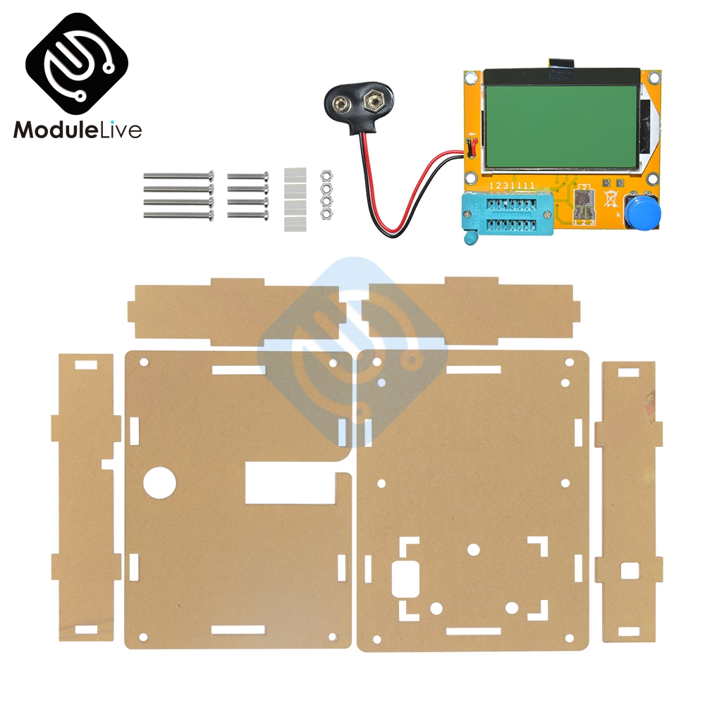 1Set Clear Acrylic Case Shell Box Housing For LCR-T4 M328 Transistor Tester Capacitance ESR Mega328 Diy KIT diy m12864 graphics version transistor tester kit lcr esr pwm with case