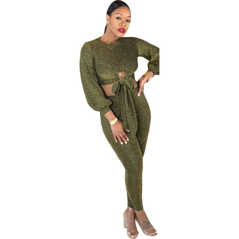 Flash Veste Costume Femmes Green Pantalon pièce 2018 Deux Élastique Arrivée Ensembles Nouvelle Crayon Bow Army Sport Tie De 2 ardoisé Sexy cqwZ8Ft1