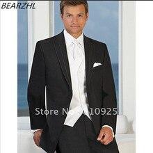 3 ウェディングドレス ピーススーツ新郎の摩耗ブラック 結婚式のタキシードスーツ