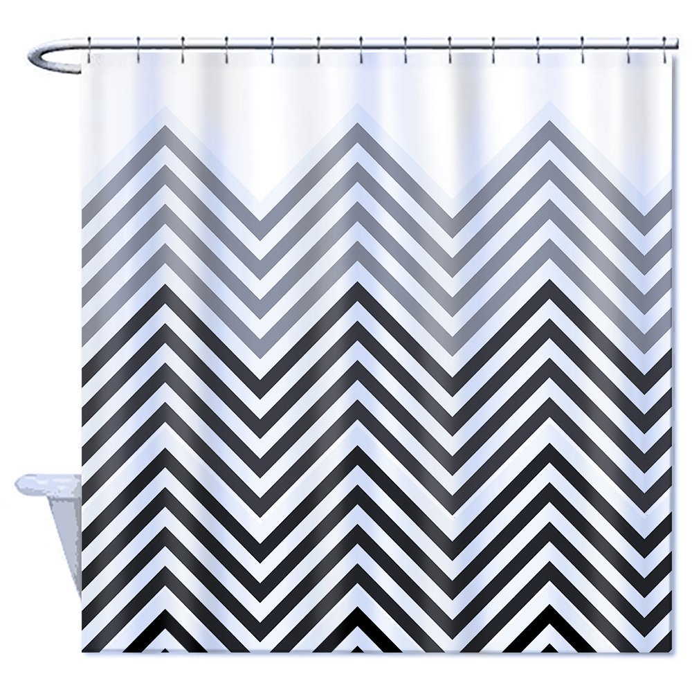 home goods shower curtain polyester black grey and white part chevron zigzag part plain