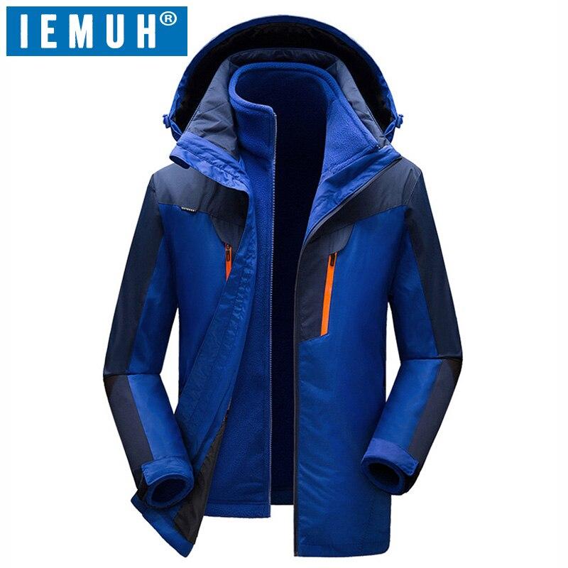Iemuh бренд L 5XL Для мужчин лыжная куртка зимняя Сноубординг костюм Для мужчин открытый 3in 1 теплый Водонепроницаемый ветрозащитный дышащий Кур