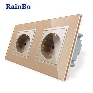 Image 4 - RainBo EU Power Wall Socket Standard Power Socket Glass Panel AC Wall Power smart outlet A28E8EW/B