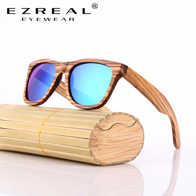EZREAL Bamboo Sunglasses Men Wooden Sun glasses Women Brand Designer Mirror Original Wood Sunglasses Oculos de sol masculino