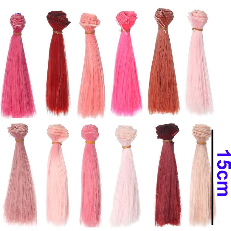 1pcs hair 15cm pink  red rose color straight doll hair for 1/3 1/4 BJD doll diy hair wig refires bjd hair 25cm length black brown flaxen golden natrual color long straight wig hair for 1 3 1 4 bjd diy