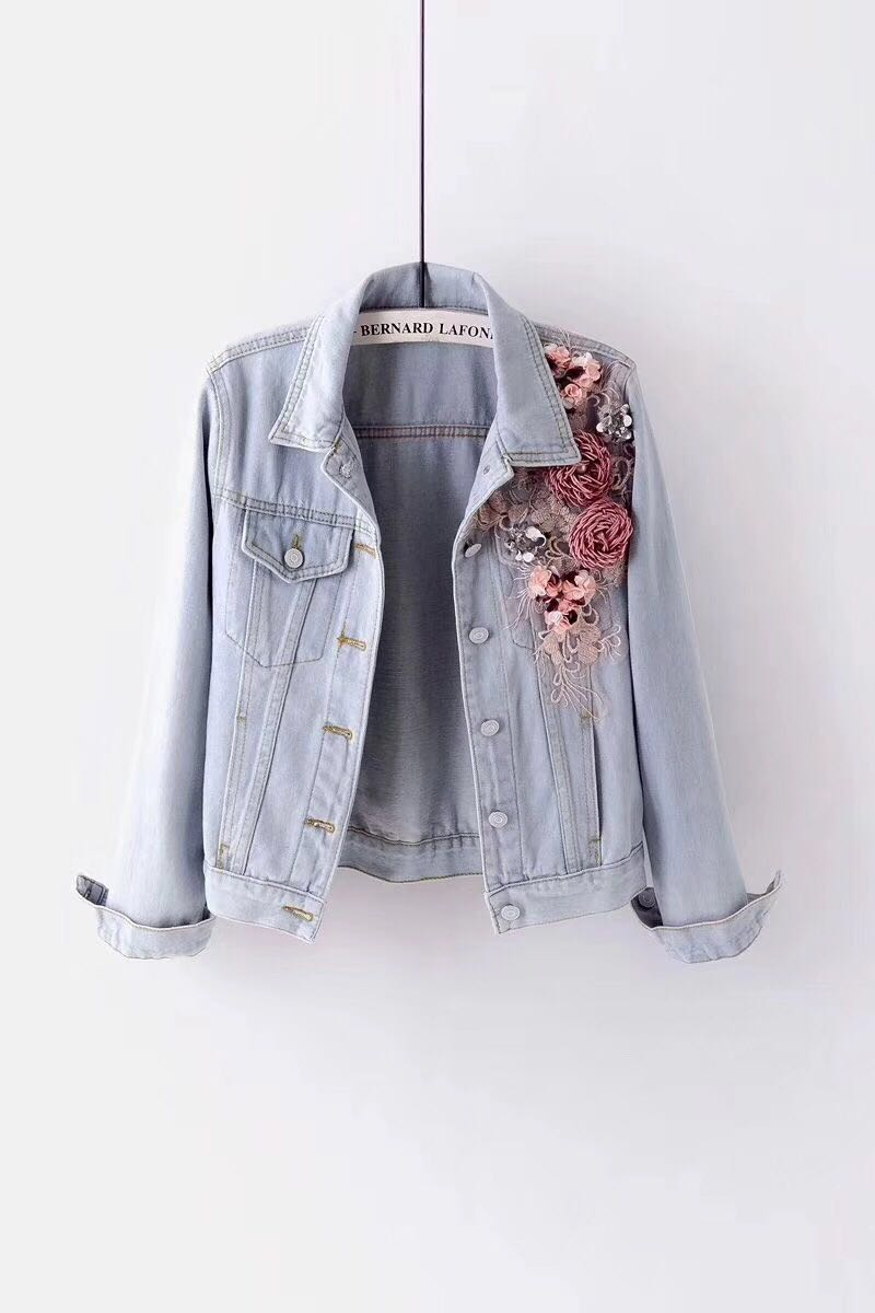 2019 Autumn Women Embroidery Three Dimensional Flowers Pearl Bead Short Denim Coat Woman Long Sleeve Jean Jacket xintiandi