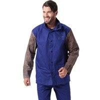 Chaqueta de soldadura llama/calor/resistente a la abrasión híbrido cuero de vaca y FR algodón manga larga trabajador chaqueta
