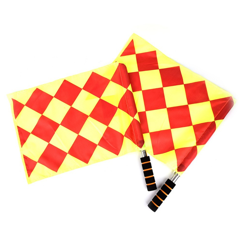 Hot 2pcs Economic Football Match Referee Flags Patchwork Waterproof Cloth Stainless Steel Tube Foam Soccer Accessories