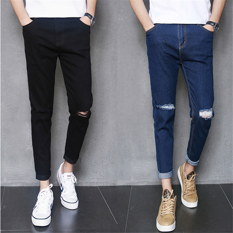 2018 Summer Pure Color Mens Hole Jeans Blue Black 27 28 29 30 31 32 34 36 Hot Popular Man Ankle-Length Pants Small Elasticity