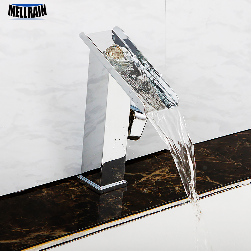 Bathroom square waterfall basin faucet brass mirror chrome plated water fall hot & cold mixer tap faucet micoe hot and cold water basin faucet mixer single handle single hole modern style chrome tap square multi function m hc203