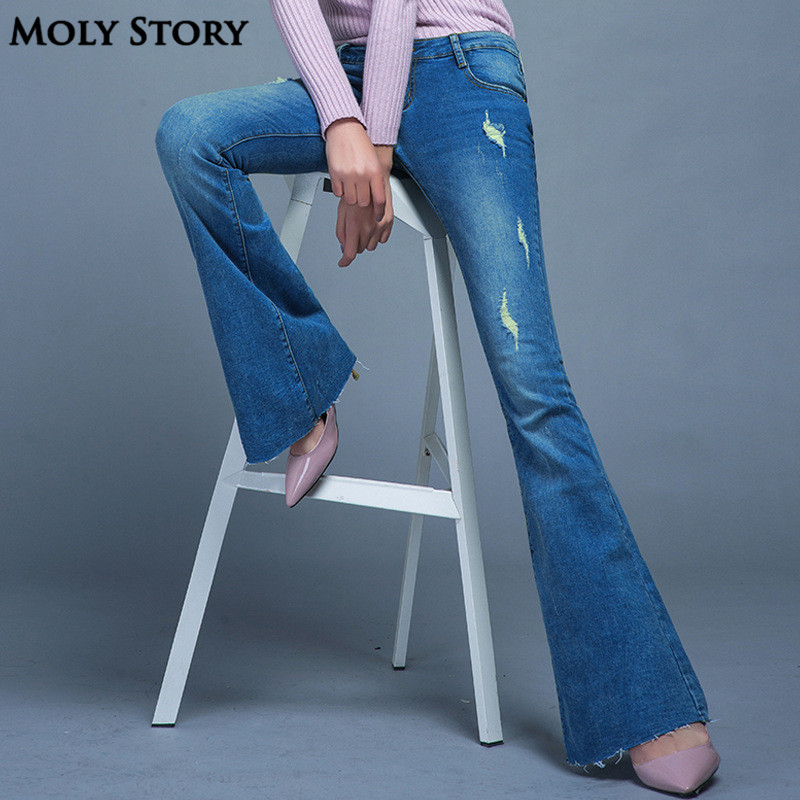 Fashion New Vintage Flare Jeans Sexy Ripped Jeans Femme Plus Size Hippie Wide Leg Denim Pants Women