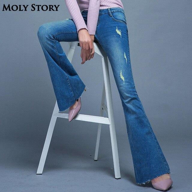 80d053554a4 Fashion New Vintage Flare Jeans Sexy Ripped Jeans Femme Plus Size Hippie  Wide Leg Denim Pants