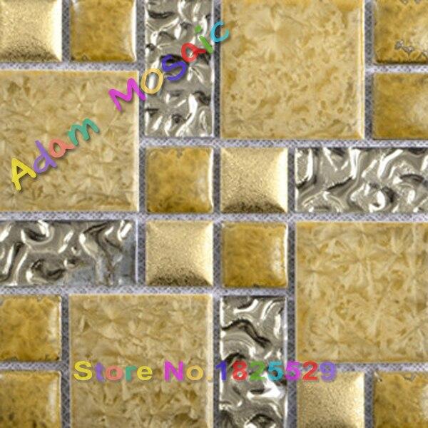 gold ceramic tile fireplace wall art sheet golden glass tiles ...