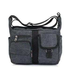 Image 3 - Erkek seyahat çantası tuval erkek postacı çantası tasarımcı marka çanta erkek çanta Vintage erkek evrak çantası iş omuzdan askili çanta Bolsas