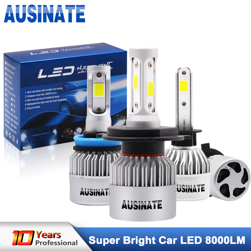 Turbo H1 led-autokoplamp H4 groot / dimlicht led-lampen COB-chips H3 H7 H8 H9 H11 H13 HB3 HB4 H27 LED-mistlamp 6500K 72W 8000LM