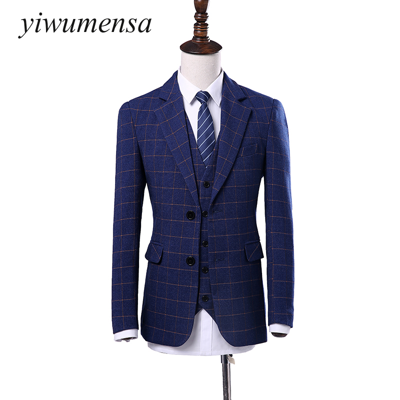 yiwumensa costume mariage homme three piece suit high end quality wool tweed jacket vest pant. Black Bedroom Furniture Sets. Home Design Ideas