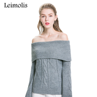 Leimoli Knitted Batwing Sleeve Wool Sweater Women Solid Color 2018 Autumn Winter Casual All Match Slash