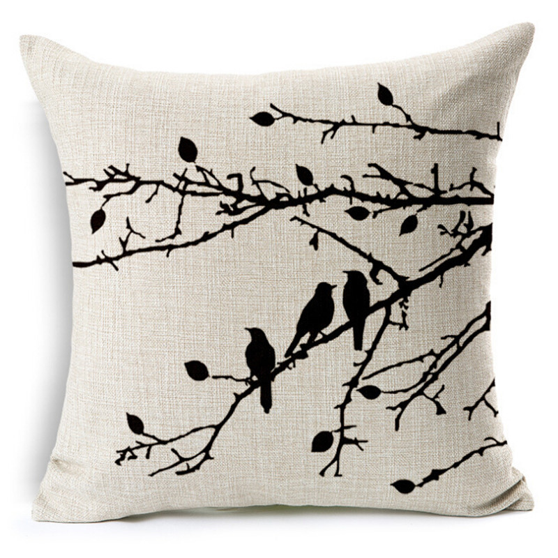Birds And Tree Print Cushion Cover Decor Decorative Cushion Case Throw Pillow Cover Linen Cushion for Sofa Decorative Pillows