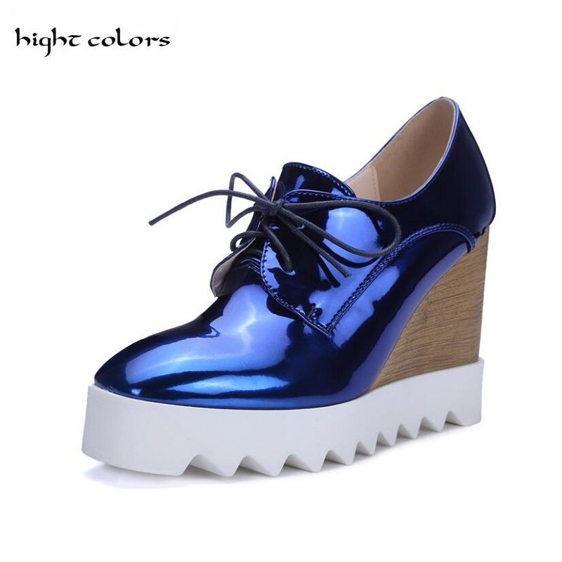 Sliver Metallic Patent Leather Women Oxfords Wedge Shoes Woman Spring Creepers Casual High Heels Shoes For Ladies bling patent leather oxfords 2017 wedges gold silver platform shoes woman casual creepers pink high heels high quality hds59