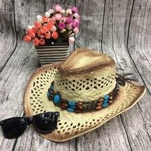 d19ca6ab24fb2 Mujeres de los hombres de paja sombrero de vaquero hechos a mano con cable  Brim sombrero de sol moda Unisex