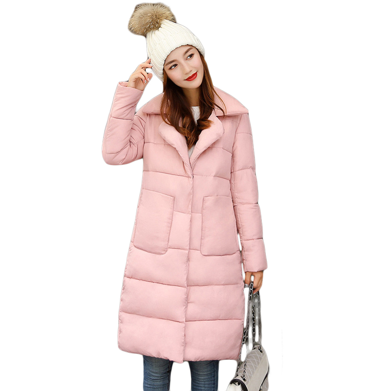New Style 2017 Women Winter Fashion Long Loose Down Cotton Coat Parkas Female Warm Turn-down Collar Wadded Quilted Jacket CM1666 zoe saldana 2017 women winter jacket down cotton padded coats casual warm winter coat turn down collar long loose parkas